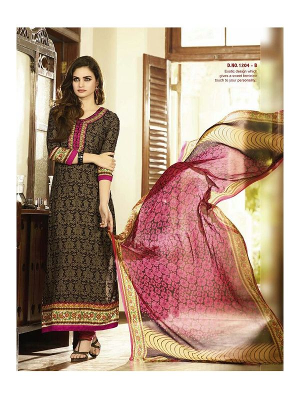 Embroidered Magenta with Golden Print Pashmina Suit With Pure Dupatta