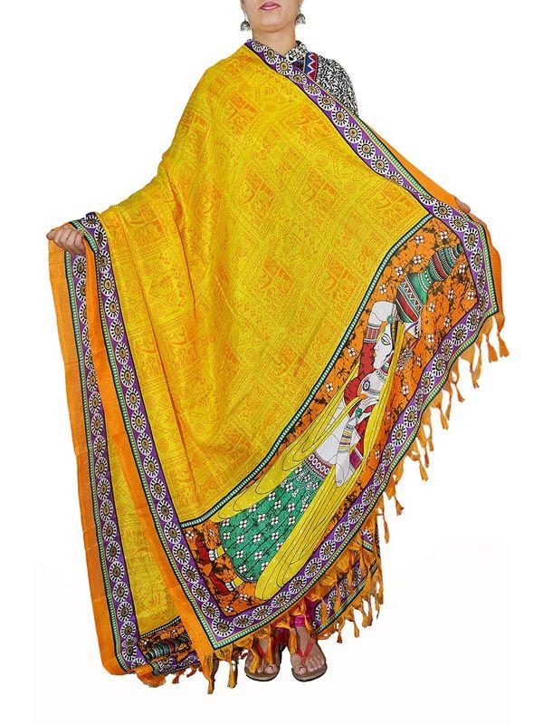Embellished Yellow Art Silk Dupatta