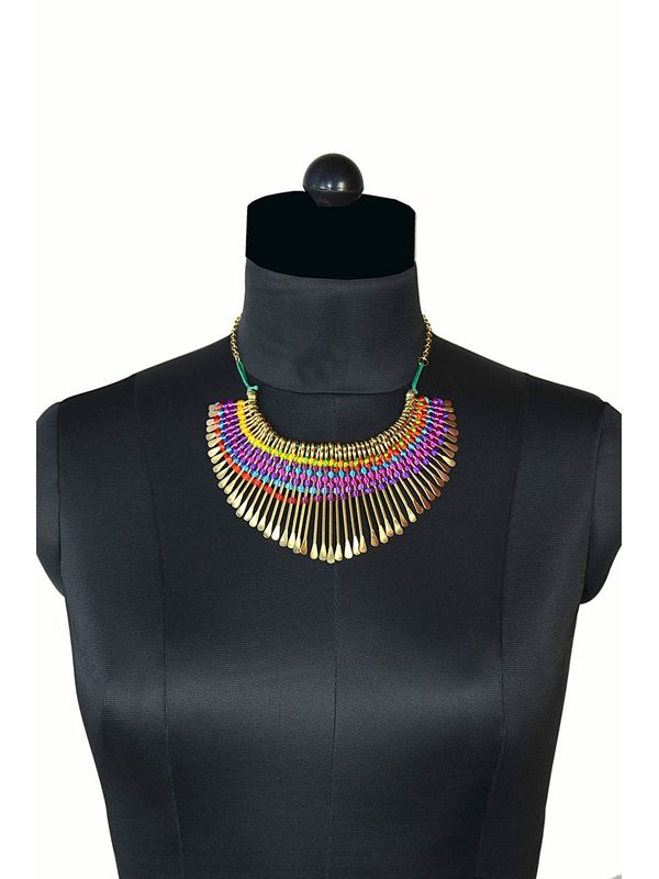 Precious golden necklace with thread work