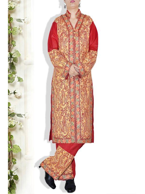 Kashmiri Red Aari Work Formal Cotton Suit