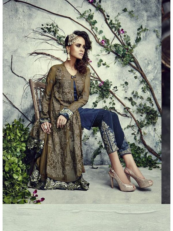 Formal Pakistani Semi Stitched Olive Green Georgette Suit