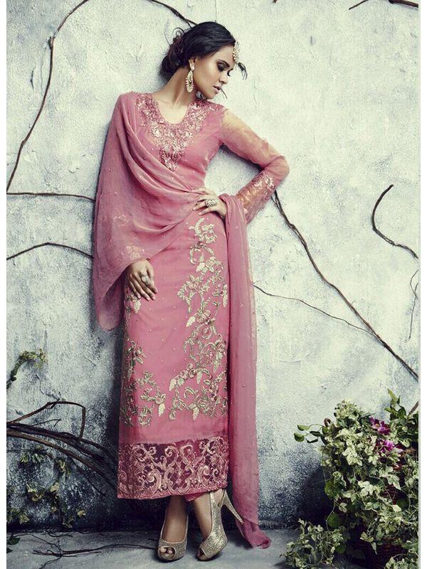 Stylish Fashion Pink Embroidered Pakistani Suit