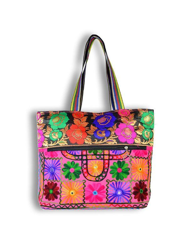 Raw Silk Ethnic Pink Color Shoulder Handbag
