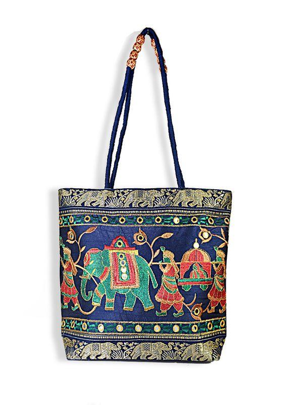Raw Silk Ethnic Blue Color Shoulder Handbag