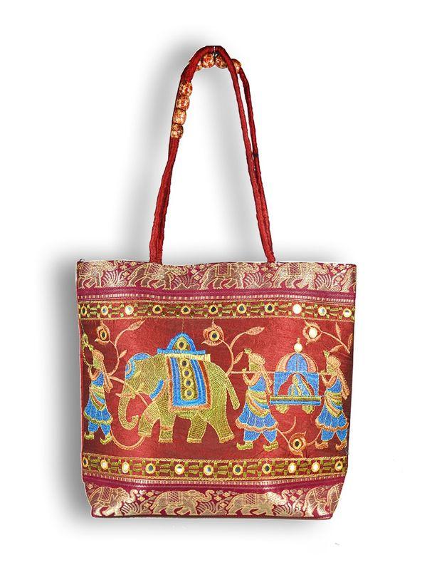 Raw Silk Ethnic Rust Color Shoulder Handbag