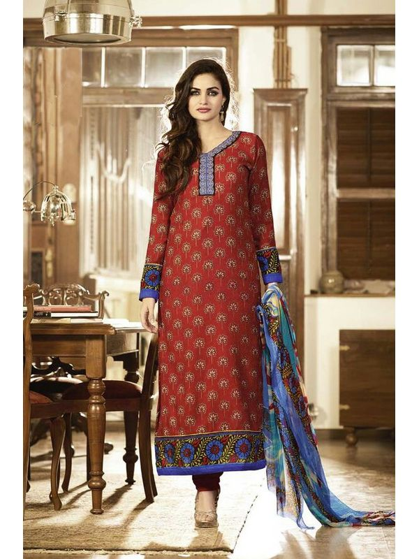 EMBROIDERED DARK RUST COLOR PASHMINA SUIT WITH PURE DUPATTA