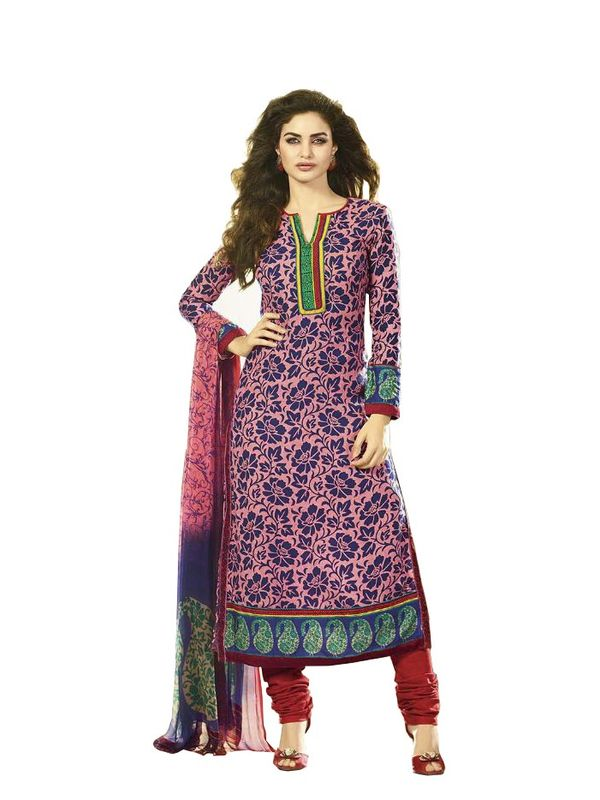 PINK COLOR WITH BLUE PRINT PASHMINA SUIT WITH PURE DUPATTA