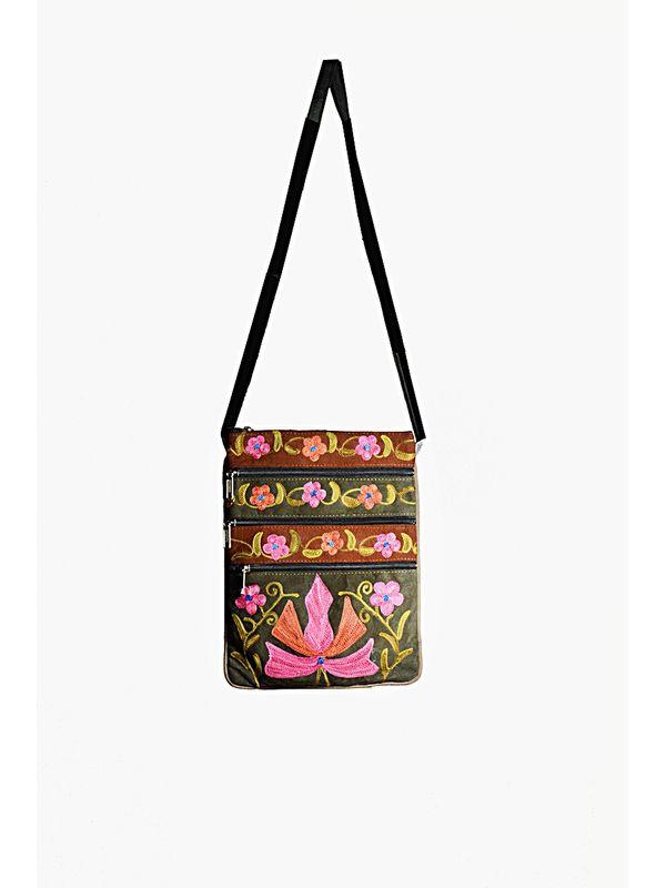 Kashmiri Embroidered Suede Sling Bag