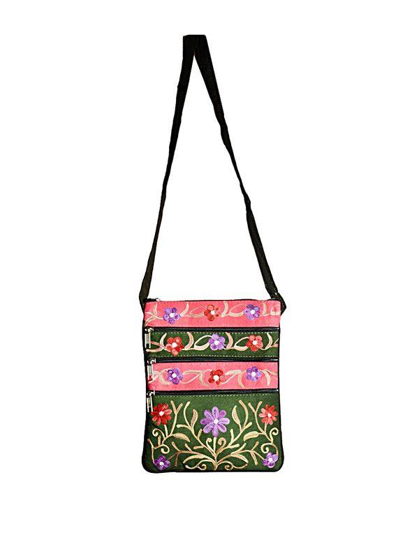Buy kashmiri embroidered suede sling bag online