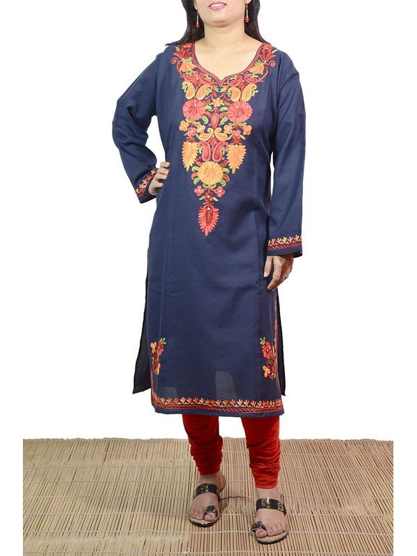 PinkCuckoo Navy Blue Color Kashmiri Embroidered Kurti With Traditional Art Of Aari Work