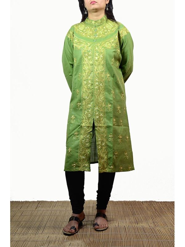 Add Grace with Green  Kashmiri Embroidered Kurti With Aari Work
