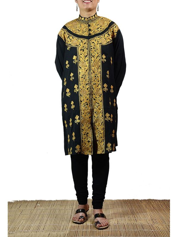 Most Appealing Black Color Kashmiri Kurti with Golden Embroidery of Traditional Aari Work