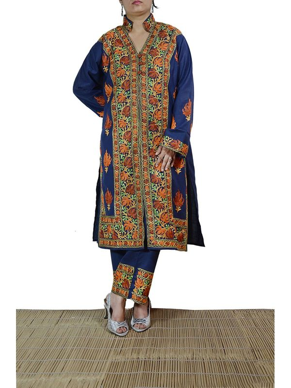 Semi Stitched Suit with full Embroidery