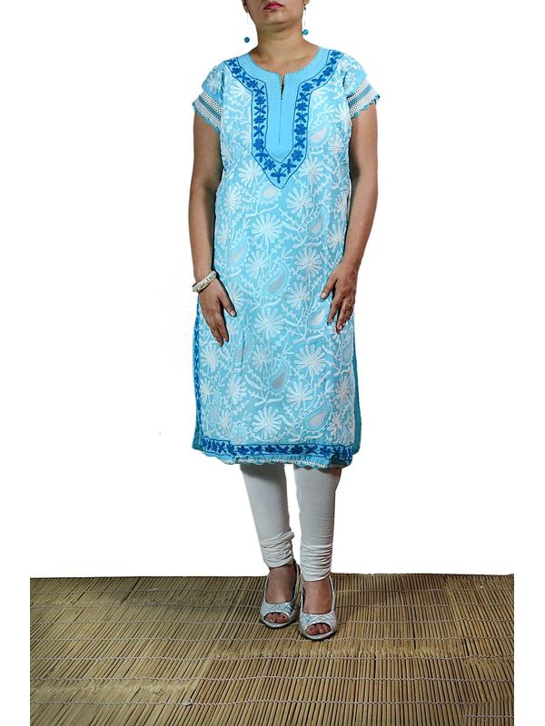 Lakhnawi Blue Embroidered Kurti