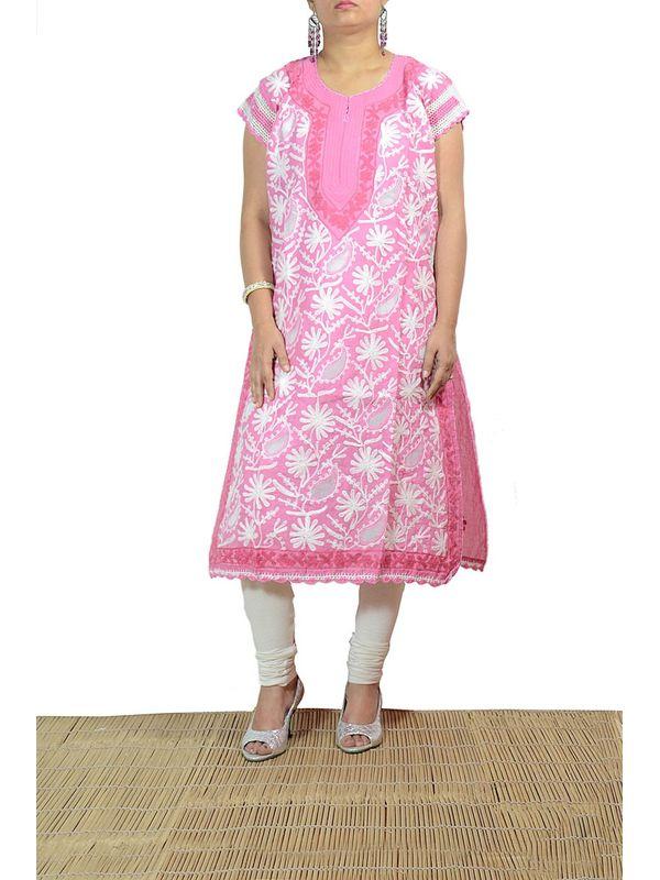 Lakhnawi Pink Embroidered Kurti