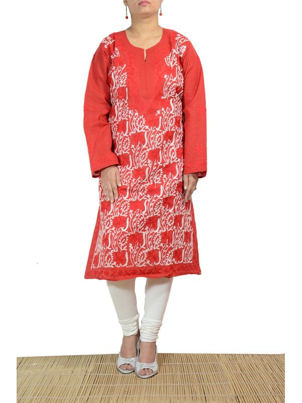 Lakhnawi Red Embroidered Kurti