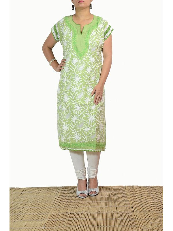Lakhnawi Olive Green Embroidered Kurti