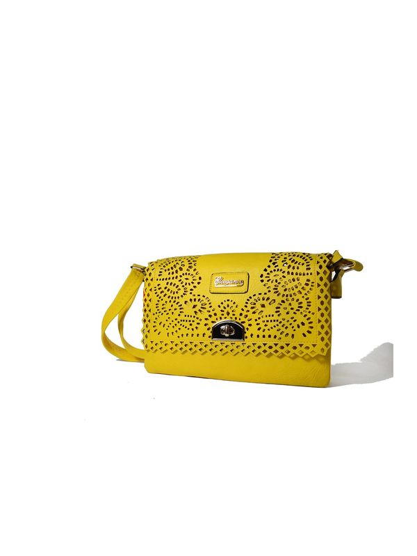 Trendy Mustard Cut Work Sling Bag from Elegance