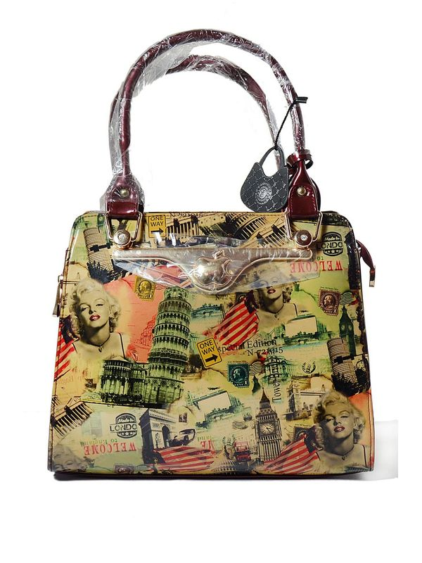 Maroon Color Formal Handbag with Appealing Printed Graphic