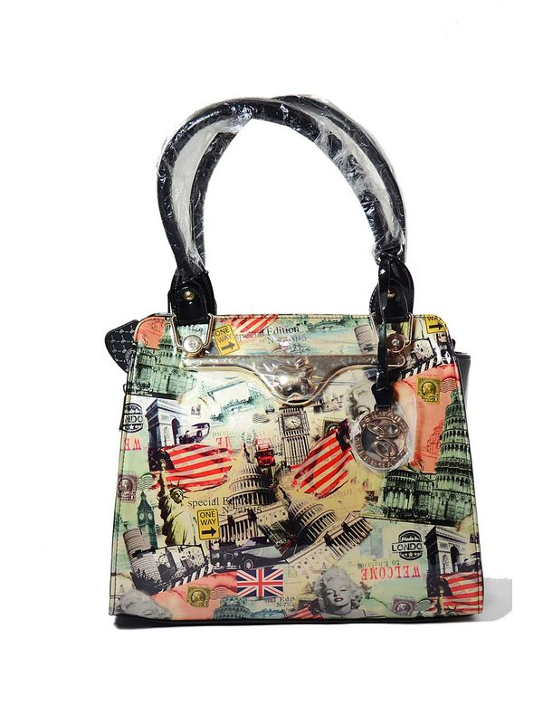 Black Color Formal Handbag with Appealingly Printed Graphics on it