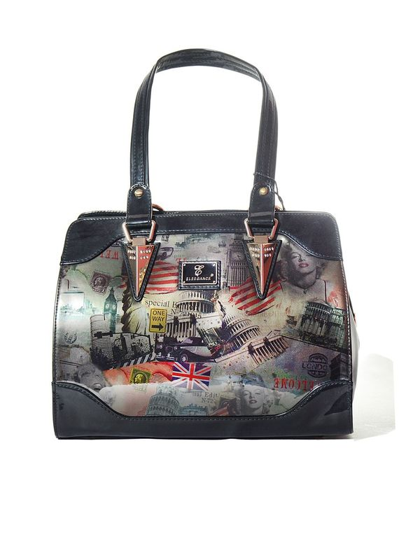 Graphically Printed Formal Black Coloured Handbag from Elegance