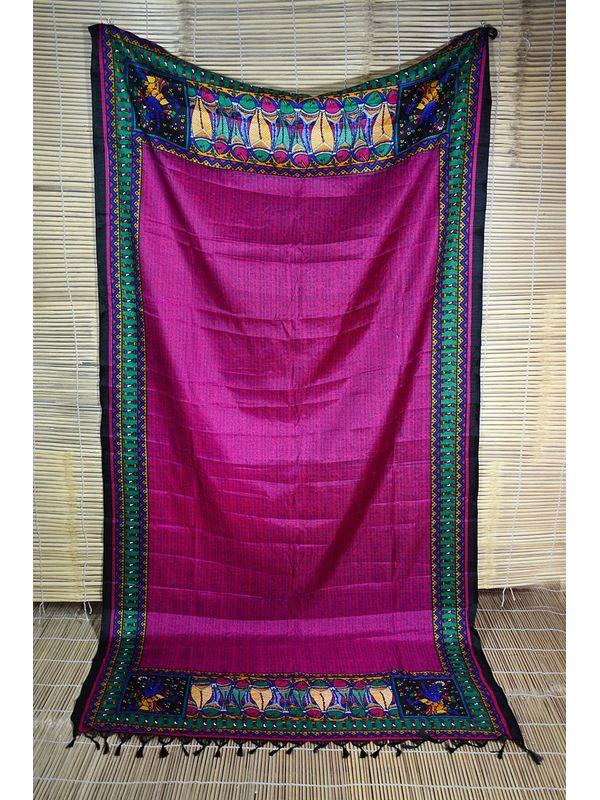 Embellished Magenta Art Silk Dupatta