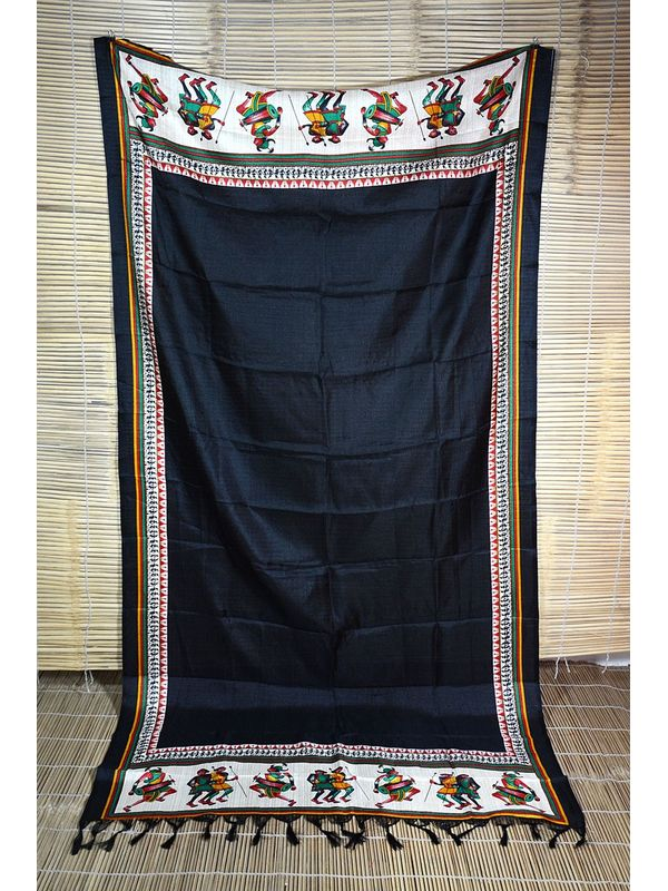 Embellished Black Art Silk Dupatta