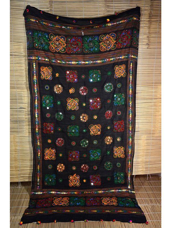 Aariwork Cotton Kutchi Designer Mirror work dupatta