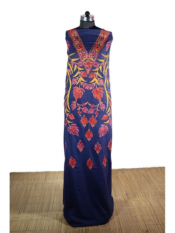 Navy Blue Kashmiri Aari Work Suit with Elegant Embroidery of Chinar Pattern