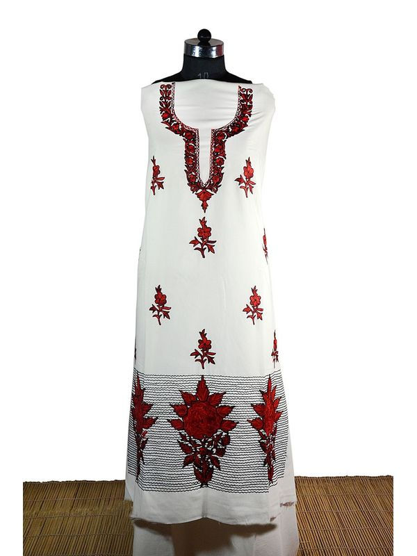 Off White Kashmiri Aari Work Suit with Elegant Red and Black Embroidery