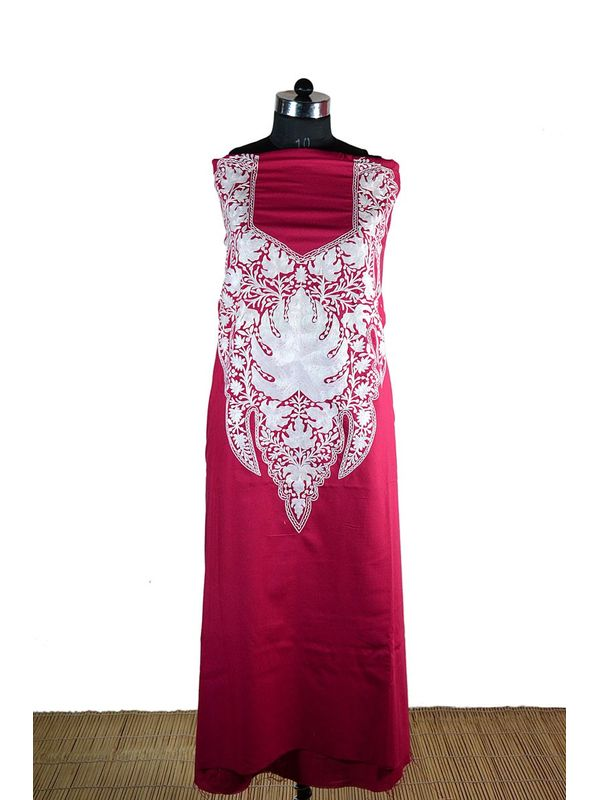 Magenta Kashmiri Aari Work Suit with Elegant White Embroidery Chinar Pattern