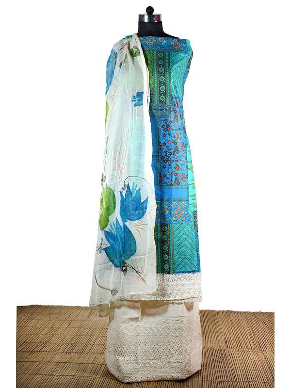 Blue Aesthetic Cotton Suit with Digital Print