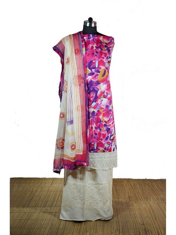 Graceful Pink colour Cotton Printed Suit
