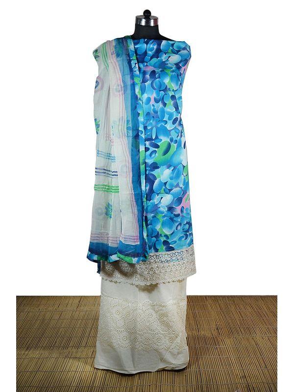 Elegant blue colour Printed Dress Material