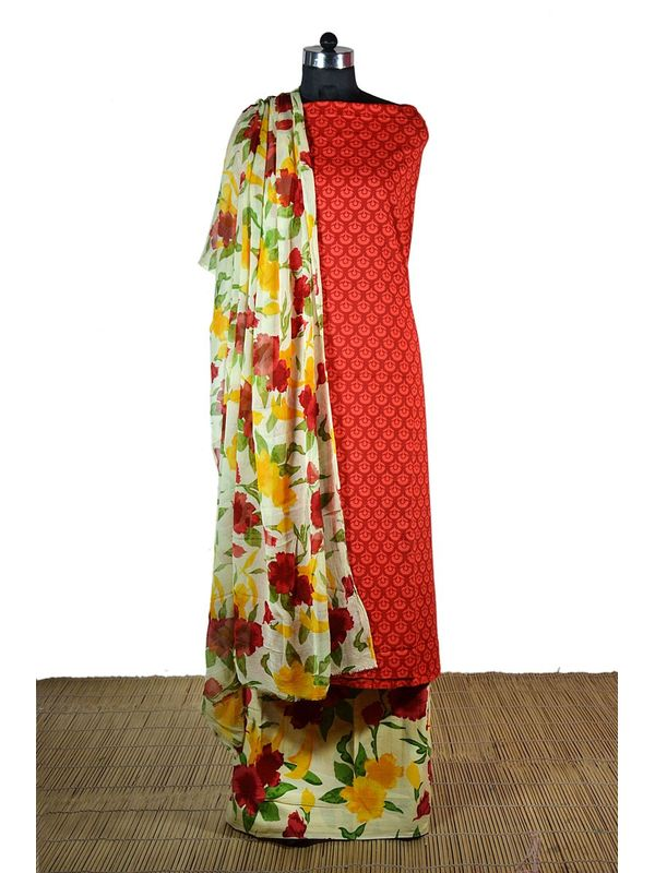 Graceful Red Printed Cotton Suit with Pure Chiffon Dupatta