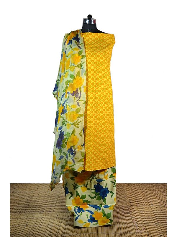 Graceful Yellow Orange printed Dress Material with Pure Chiffon Dupatta