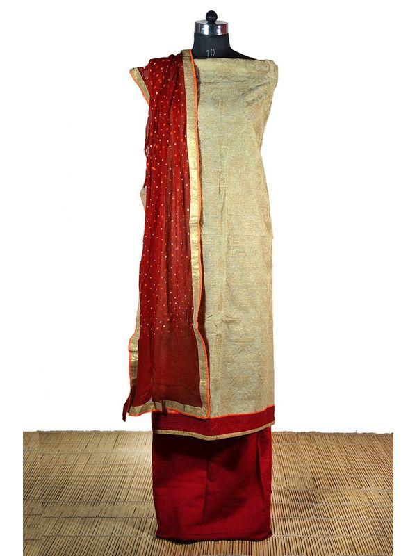 Elegant Khadi Suit with jute embroidery