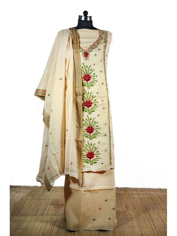 Kantha Work Embroidered Cotton Suit