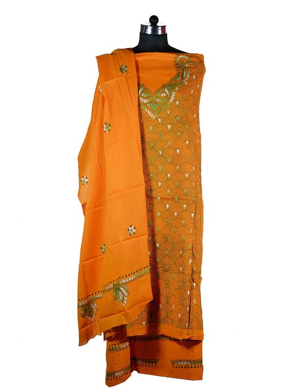 Beautiful Orange Hand Embroidered Kantha Work Cotton Suit