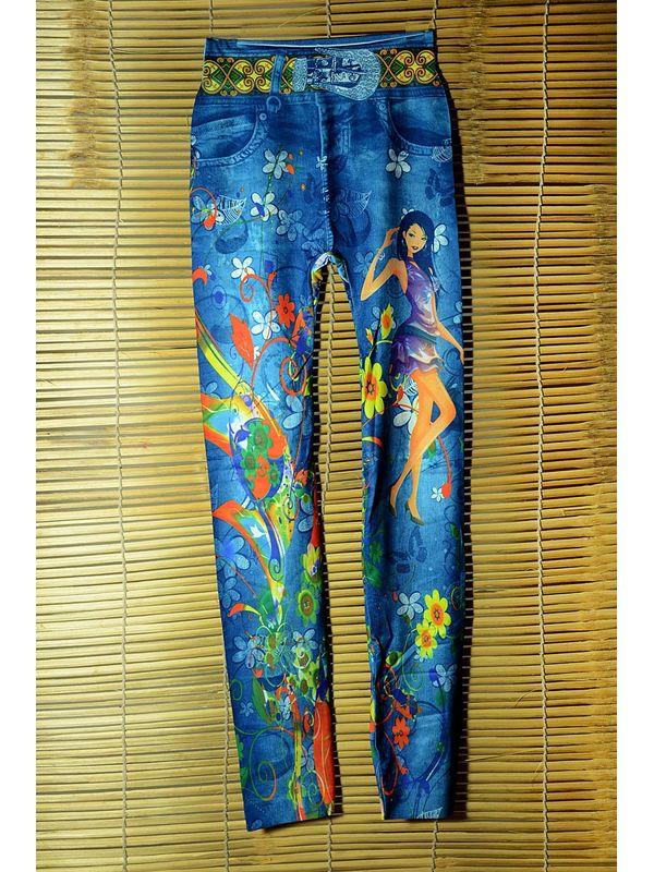 Stylish Light Blue Barbie Print Legging