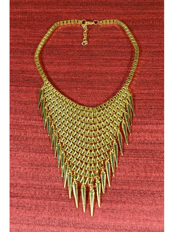 Golden coloured fringe necklace