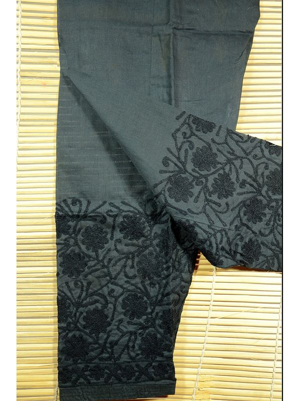 Black Lakhnawi Embroidered Cotton Salwar