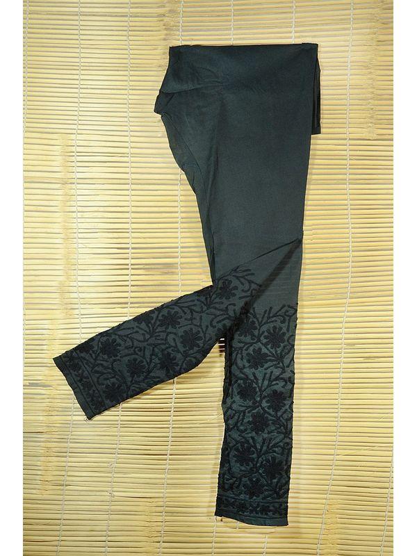 Black Lakhnawi Embroidered Cotton Churidar