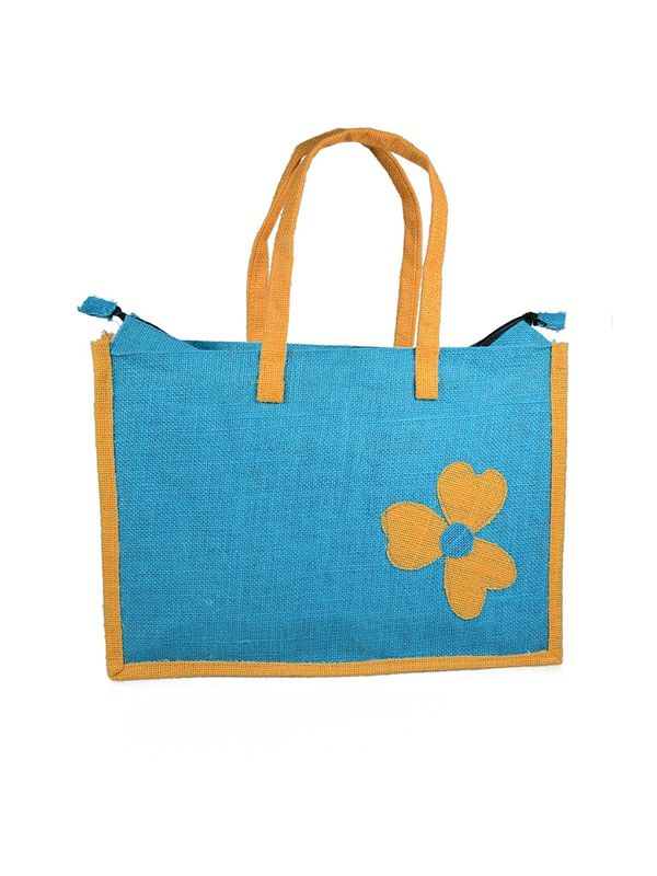 Jute Bag with Floral Patch