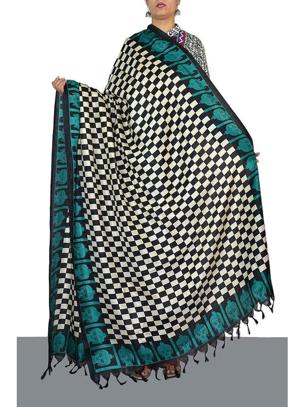 Embellished Black and White Art Silk Dupatta