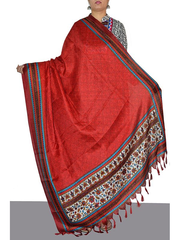Embellished Red Art Silk Dupatta