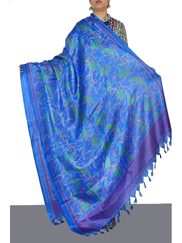 Embellished Blue Art Silk Dupatta with Parrots Print