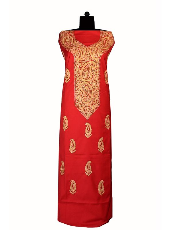 Kashmiri Red Paisley Aari Work Woolen Suit