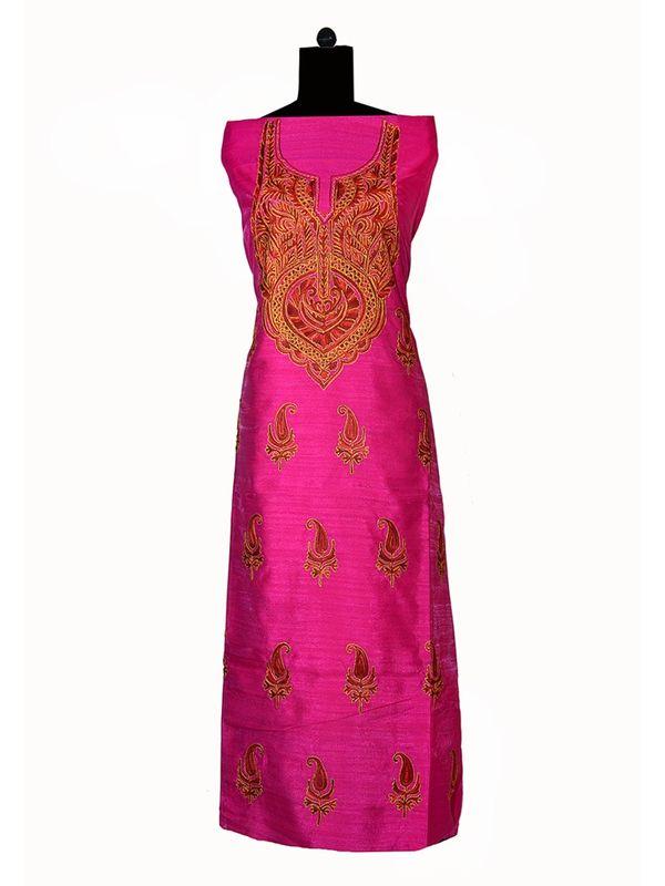 Kashmiri Tilla and Aari Work Un Stitched Silk Suit