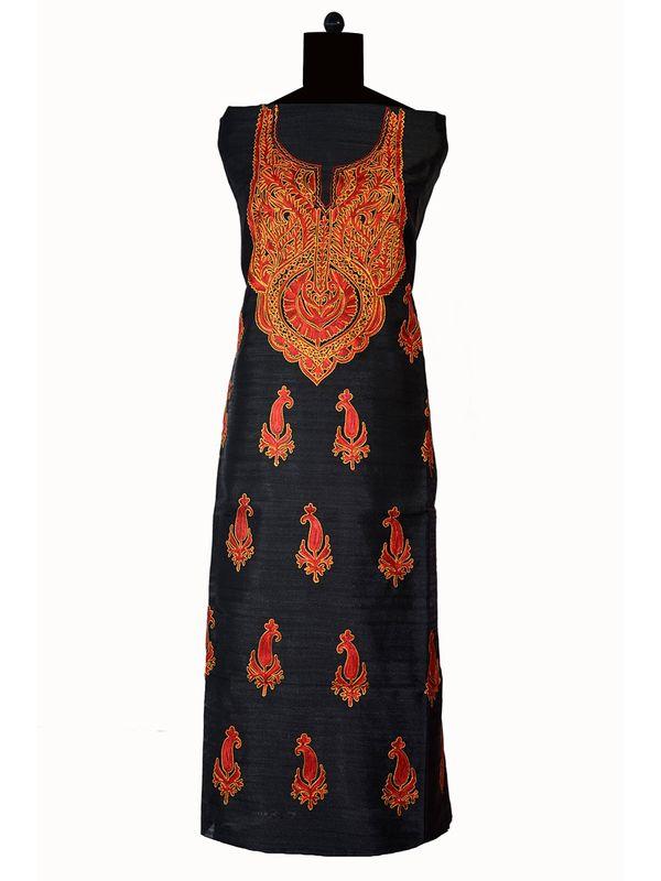 Kashmiri Tilla and Aari Work Black Un Stitched Silk Suit